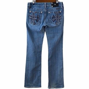 Miss Me Boot Cut Cross Embellished Mid Wash Jeans